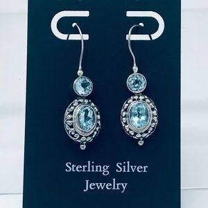 Jewelry - Blue Topaz Sterling Silver 925 Earrings